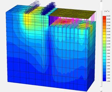 Изолинии вертикальных деформаций существующей застройки
